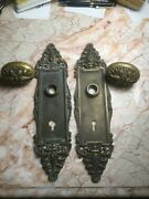 Antique 1903 Brass Oval Door Knobs And Plates Fancy Repousse Roses Custom