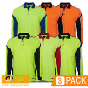 3 X Hi Vis Cool Dry/breathable Tradies L/s Arm Panel Polo Safety Work Shirts