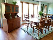 Vintage 1959 Ethan Allen Dining Set Maple Table Chairs And Hutch Rare