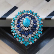 Igi Certified 1.74ct Natural Diamond 14k White Gold Turquoise Sapphire Brooch