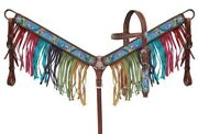 Showman Pony Leather Bridle And Breast Collar Set W/ Rainbow Pony Design New Tack