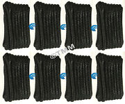 8 Black Double Braided 3/8 X 15and039 Ft Hq Boat Marine Dock Lines Mooring Ropes