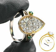 Antique 14k Yellow And White Gold Pear Diamond Green Emerald Ring W/ Video