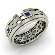 Certified Sapphire And Platinum Celtic Knot Menand039s Wedding Band / Engagement Ring