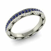 Natural Royal Blue Sapphire Si Diamond Wedding Ring In 14k White Gold - 1.03 Ct