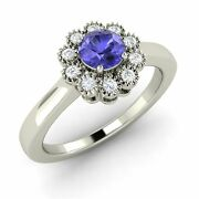 Tanzanite And Si Diamond Antique Look Halo Engagement Ring 14k White Gold-0.52 Ct