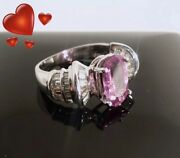 Sapphire And Diamond Ring Size 7.5 Women's Pink Valentines Day Gift Be A Hero