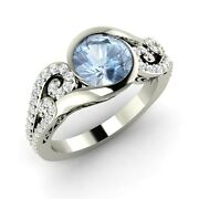 1.24 Ct Natural Aquamarine Engagement 14k White Gold Ring Inspired By Ocean Wave