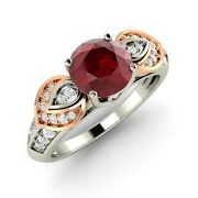 Vintage Inspired Natural Ruby Two Tone Ring In 14k White Gold With Si Diamond