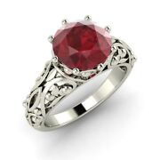 Certified 1.30 Ct Natural Ruby Vintage Solitaire 14k White Gold Engagement Ring
