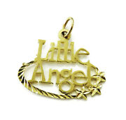 10k Yellow Gold Little Angel Charm Necklace Pendant 1.1g