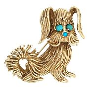 Brooch 14k Yellow Gold Fluffy Puppy Dog With Blue Turquoise Accents Pin - Estate
