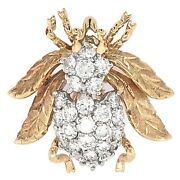 Brooch 14k Yellow Gold Bumble Bee With Diamonds - Vintage Estate Jewelry