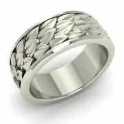 Vintage Inspired Menand039s Wedding Anniversary Band/ring 14k White Gold-8.5 Mm Width