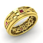 Princess Cut Ruby Menand039s Ring In Solid 14k Yellow Gold-6.5 Mm Width Ring Size- 10