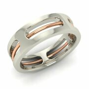 Two Tone Rope Design Menand039s Ring / Band In Solid 18k White Gold- Free Shipping