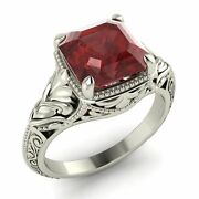 Certified 2.20 Ct Cushion Cut Garnet Vintage Look Engagement Ring In 18k Gold