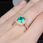 Black Friday 0.81ct Round Diamond Emerald 14k Solid Yellow Gold Ring In Size 7