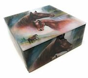 Value Arts Horse And Colt Jewelry Box Beveled Glass Lined With Velvet 4.75...