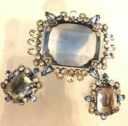 Massive Unsigned Vintage Faceted Crystal And Blue Rhinestone Brooch And Earrings