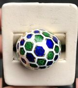 Vintage Blue Green And White Honeycomb Enamel 14k Gold Dome Ring