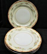 Vintage Gold China Made In Occupied Japan Dinner Plates X4 Cream Rust Gold Trim