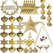 Gold Christmas Tree Decorations Topper Hanging Stars Balls Baubles Ornaments