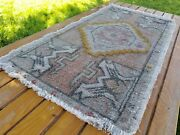 Beautiful Antique 1900-1930and039s Wool Pilemuted Dyetribal Rug 1andrsquo7andrdquox 3andrsquo1andrdquo
