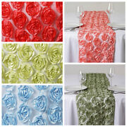 12 X 108 Satin Ribbon Roses On Lace Table Runner Wedding Party Decorations