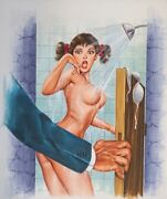 Original Illustration Mexican Romance Cover Art Nude Girl Woman Painting Pin Up