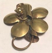 Solid Intricate Hand Crafted Large Copper Flower Vintage 1960s Pin Brooch Unique