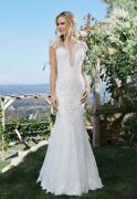 Lillian West Lace Flare White Wedding Dress Size 8 Brand New Never Worn