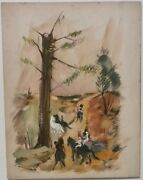 Horseback Riders On Trail And Horses At Dock 2-sided Painting-1940s/50s-louis Bosa