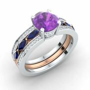 2.39ct Amethyst Blue Sapphire And Diamond Two-tone 14k White Gold Engagement Ring