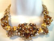 Vintage Signed Robert Early Haskell Pearl Crystal Flower Necklace And Earrings