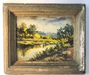 Oil Painting Shaul Ohaly Israel Landscape On Board Signed Rare Eeary 18cmx14cm
