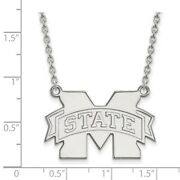 Mississippi State Bulldogs School Letter Logo Pendant Necklace In White Gold