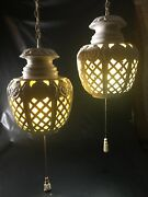 A Pair Of Vintage Mid Century White Ceramic Hanging Swag Lamps 15h X 12w