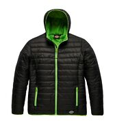 1922 Stamford Puffer Padded Insulated Work Jacket Black And Grey/lime