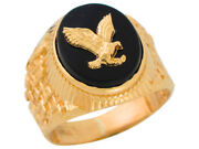 10k Or 14k Yellow Gold Oval Black Onyx Mens Patriotic Eagle Wide Classy Ring