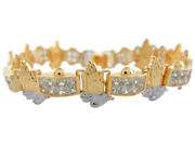 10k Or 14k Two-tone Gold White Cz Pave Links Praying Hands Religious Bracelet