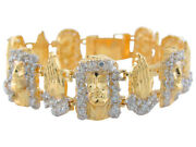 10k Or 14k Two-tone Real Gold White Cz Face Of Jesus And Praying Hands Bracelet
