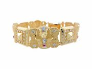 10k Or 14k Two-tone Gold Cz Accented Egyptian King Tut And Pyramid Bracelet