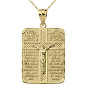 Solid 14k Yellow Gold The Lord's Our Father Prayer Crucifix Pendant Necklace