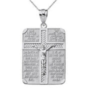 Solid 14k White Gold The Lord's Our Father Prayer Crucifix Pendant Necklace