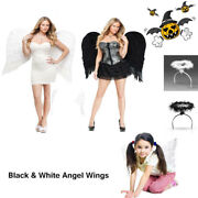 Feather Angel Wings Cosplay Christmas Costume Fairy Fancy Dress Up Kids Adults