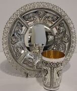 925 Sterling Silver Floral Designed Hand Chased Italian Kiddush Set Cup And Tray