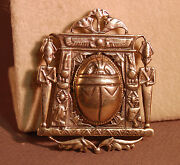 Incredible Vintage Egyptian Revival Detailed Silver Tone Scarab Isis Brooch