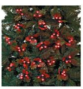 120 Holly And Berry Red Led Christmas Tree String Fairy Lights 5.8m - Battery Oper