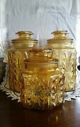 Atterbury Scroll Amber Glass Canister Set Of 3